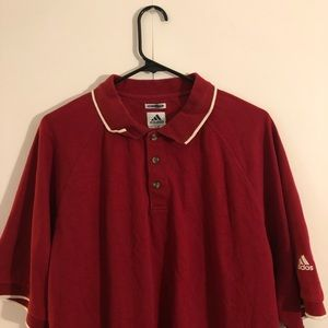 ADIDAS RED POLO SHIRT MENS LARGE